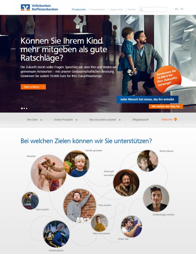 Startseite der Volksbank-Website