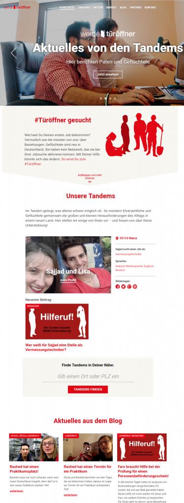 Startseite der Türöffner-Website