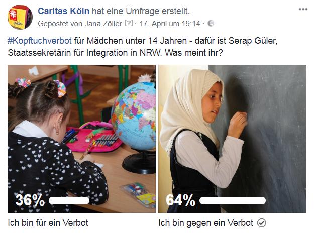 Screenshot von der Facebookseite der Caritas Köln
