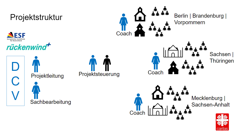 Ein Diagramm mit der Tandem 4.0 Projektstruktur von links nach rechts: Projektleitung und Sachbearbeitung, beide beim DCV angesiedelt, danach die Projektsteuerung, zwei Personen, dann drei Coaches, jeweils einer für Berlin, Brandenburg, Vorpommern, einer für Sachsen und Thüringen und einer für Mecklenburg und Sachsen-Anhalt